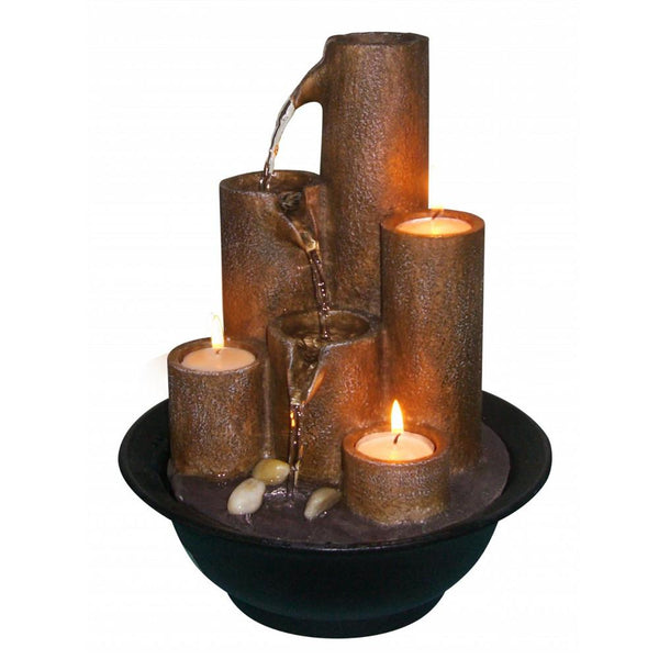 Tiered Column Tabletop Fountain with Three Candles - Soothing Company