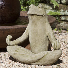 Totally Zen Frog Cast Stone Garden Statue - Soothing Company