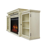 Tracey Grand Entertainment Center With Electric Fireplace in Distressed White - Soothing Company