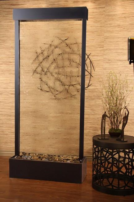 Tranquil River Floor Fountain- Clear Glass -Blackened Copper Trim - Soothing Walls