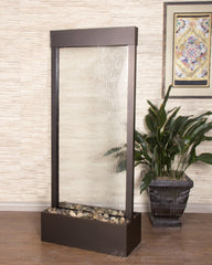 Tranquil River Floor Fountain- Antique Bronze Trim - Clear Glass - Soothing Walls