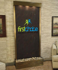 Tranquil River Floor Fountain with Logo - Rear Mounted - Soothing Walls