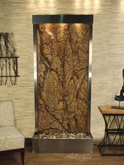 Tranquil River (Flush Mounted Towards Rear Of The Base) - Rainforest Brown Marble - Stainless Steel - Soothing Walls