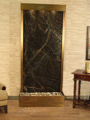 Tranquil River (Flush Mounted Towards Rear Of The Base) - Rainforest Green Marble - Rustic Copper - Soothing Walls