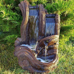 Twin Falls Log Garden Water Fountain - Soothing Company