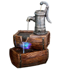 2-Tier Water Pump Barrel Fountain with LED Light - Soothing Company