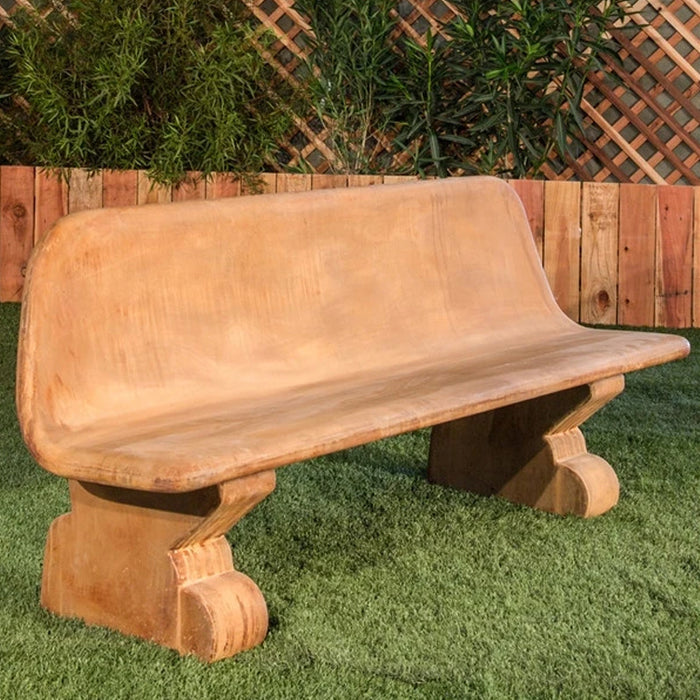 Veneto Modern Stone Bench With Back - Soothing Company