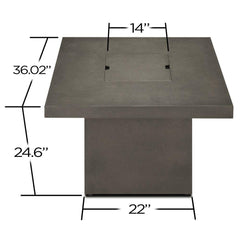 Ventura Square Chat Height Propane Fire Table with NG Conversion Kit - Soothing Company