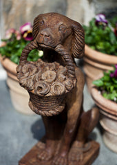 Vintage Dog With Basket Cast Stone Garden Statue - Soothing Company