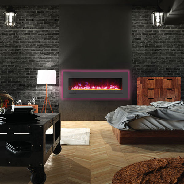 "Sierra Flame 48"" Built-in/Wall Mount Linear Electric Fireplace with Steel Surround - Soothing Company"