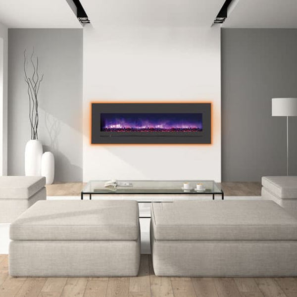 "Sierra Flame 60"" Built-in/Wall Mount Linear Electric Fireplace with Steel Surround - Soothing Company"