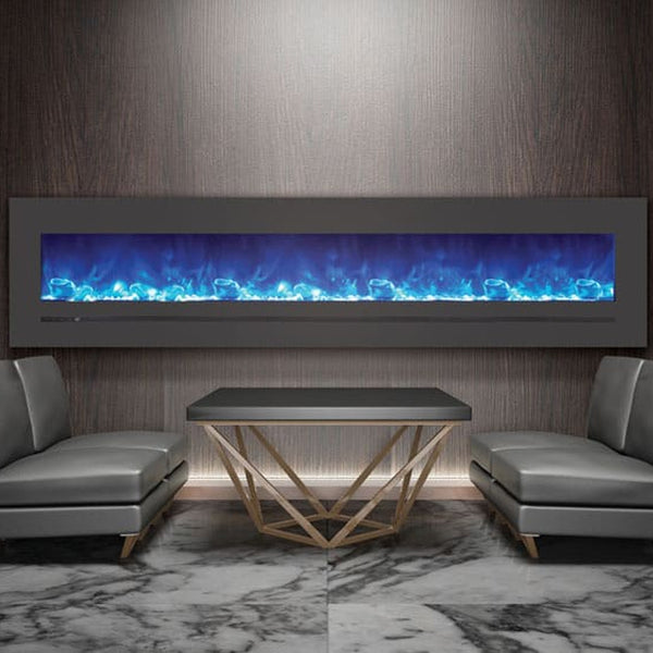 "Sierra Flame 88"" Linear Electric Fireplace with Steel Front - Soothing Company"