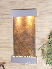 Whispering Creek: Rainforest Brown Marble and Silver Metallic Trim