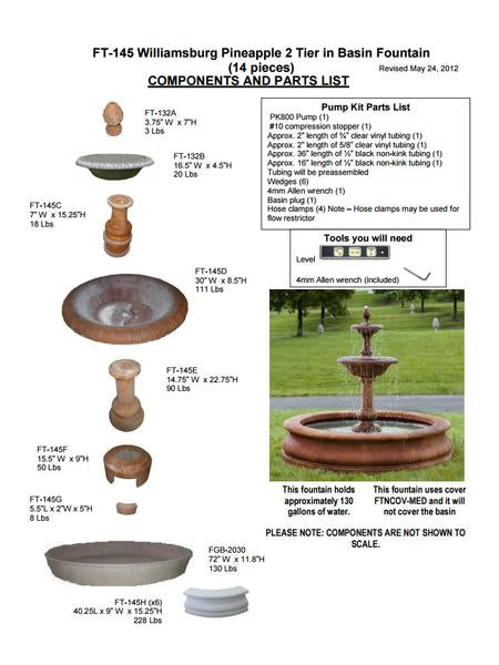 Williamsburg Pineapple 2 Tier Outdoor Water Fountain in Basin - Soothing Company