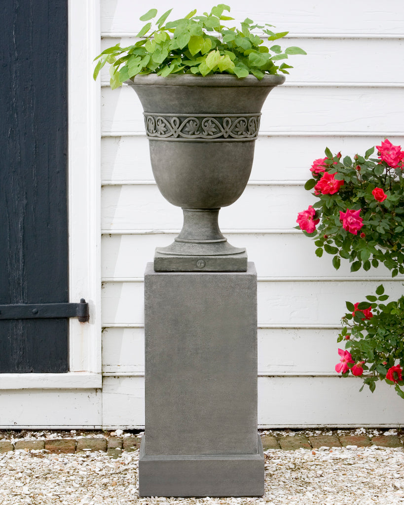 Williamsburg Strapwork Leaf Urn Garden Planter on Classic Tall Garden Pedestal - Soothing Company