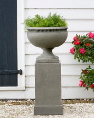 Williamsburg Tayloe House Urn Garden Planter on Classic Tall Garden Pedestal - Soothing Company