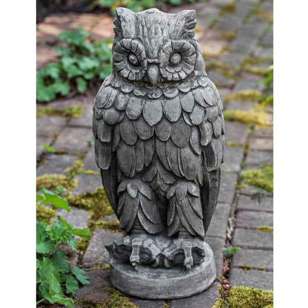 Wise Old Owl Cast Stone Garden Statue - Soothing Company