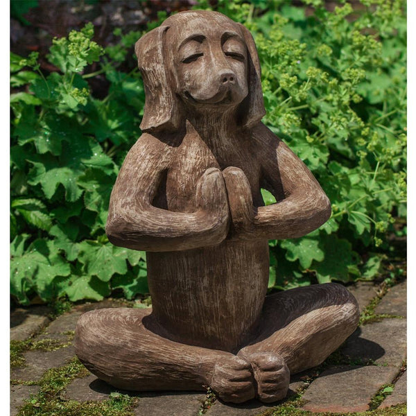 Yoga Dog Cast Stone Garden Statue - Soothing Company