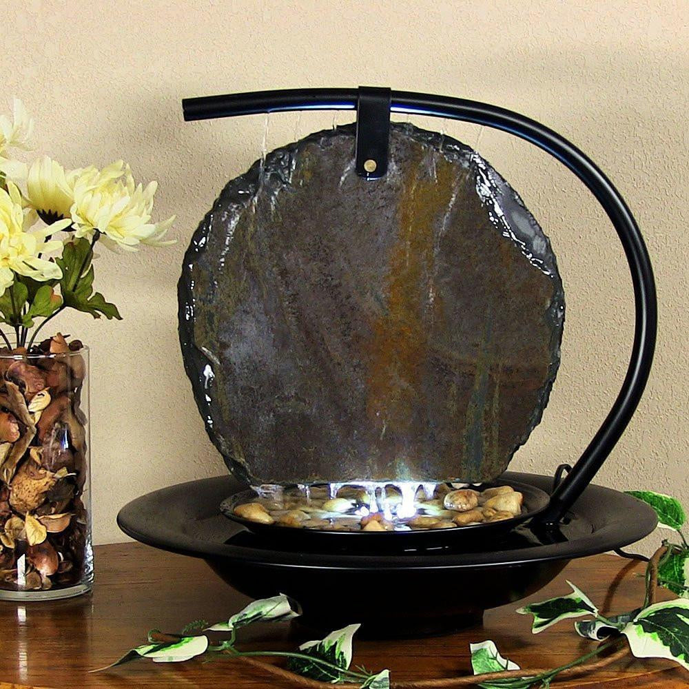 Zen MoonShadow Slate Tabletop Water Fountain - Soothing Company