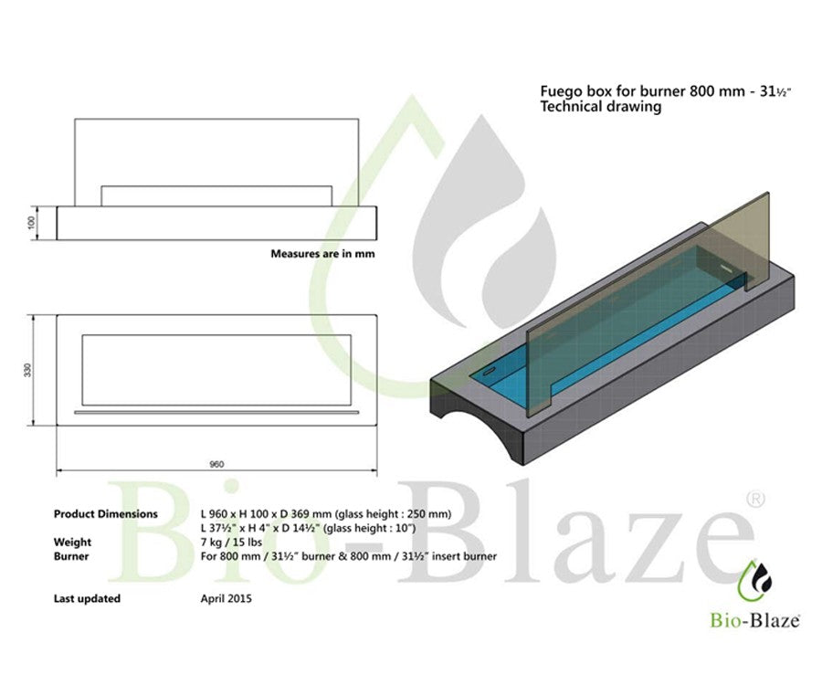 Optional Fuego Box for Bio Blaze Bloc Burner 80 cm Ethanol Insert
