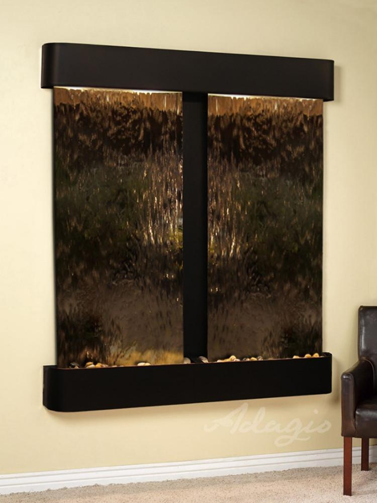 Cottonwood Falls: Bronze Mirror and Blackened Copper Trim with Rounded Corners