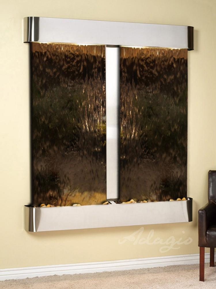 Cottonwood Falls: Bronze Mirror and Stainless Steel Trim with Rounded Corners