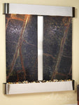 Cottonwood Falls: Rainforest Green Marble and Stainless Steel Trim with Rounded Corners