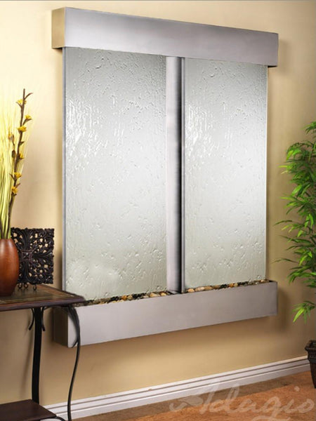 Cottonwood Falls: Silver Mirror and Stainless Steel Trim with Squared Corners