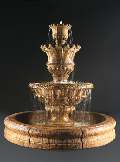 Elegante Tiered Water Fountain with Old European Basin