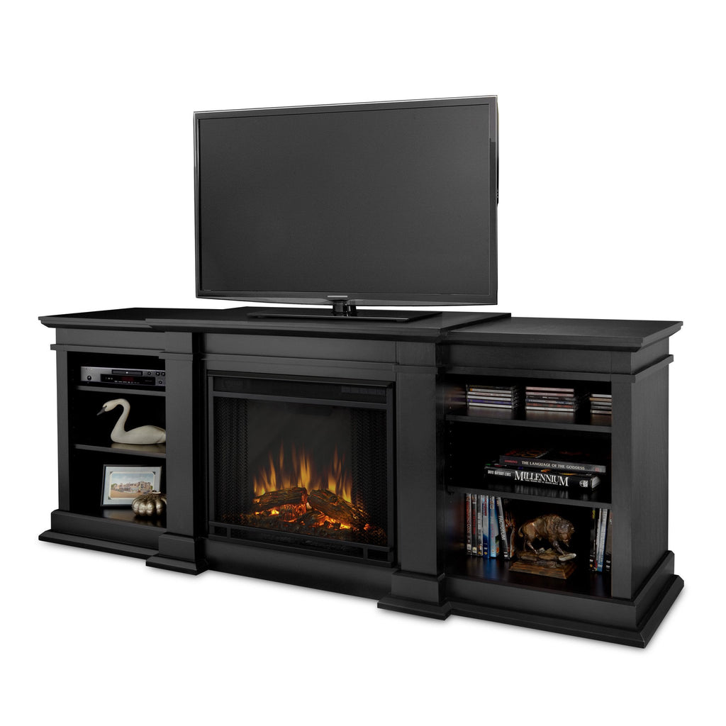Fresno Entertainment Center Electric Fireplace (Black) - Soothing Company
