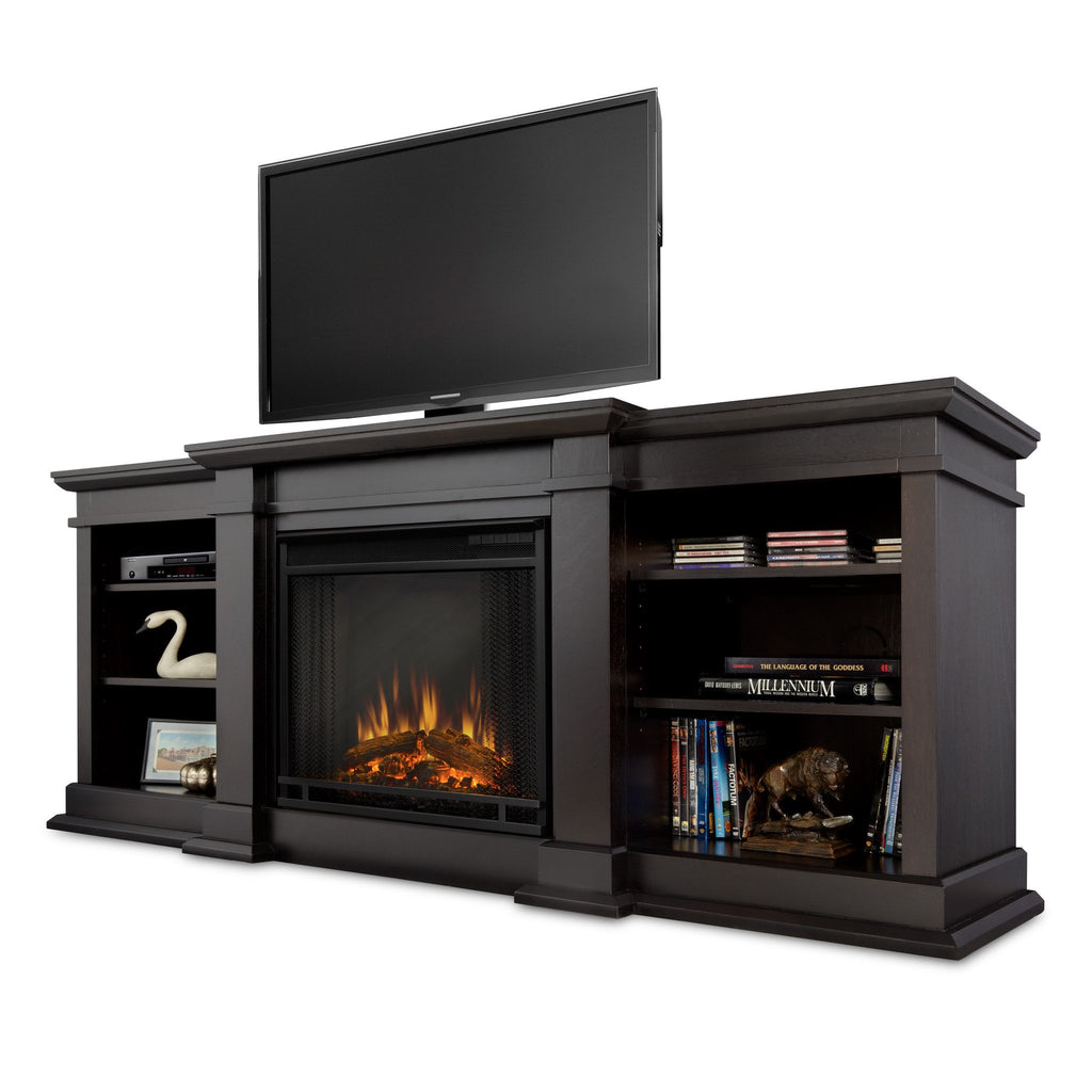 Fresno Entertainment Center Electric Fireplace (Dark Walnut) - Soothing Company