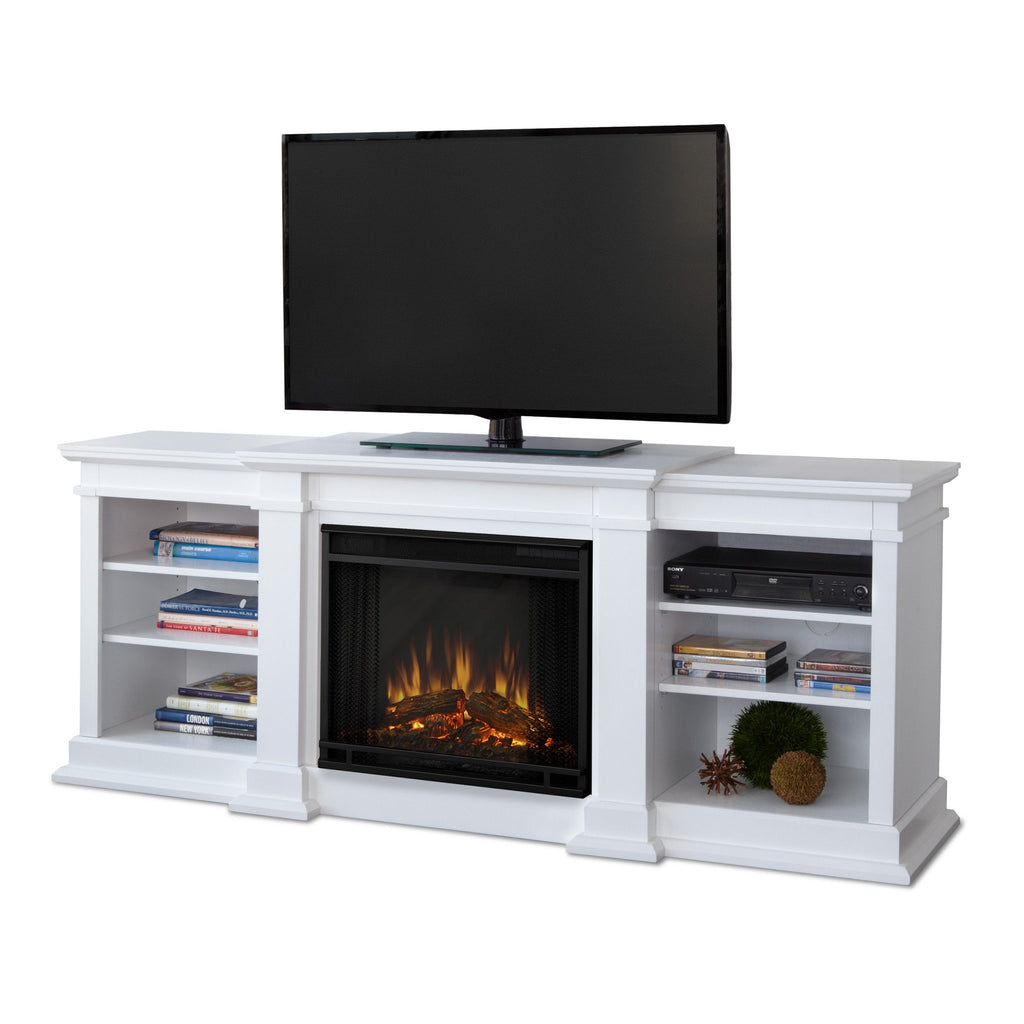 Fresno Entertainment Center Electric Fireplace (White) - Soothing Company