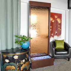 7.5' Gardenfall Bronze Mirror and Dark Copper Floor Fountain with LED Lights - Soothing Company