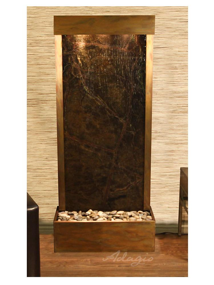 Harmony River-Rear Mount-Rainforest Green Marble-Rustic Copper- Soothing Company