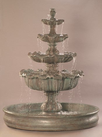 Italian 4-Tier Outdoor Water Fountain with 74