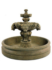 Lion Fountain with 46 inch Basin