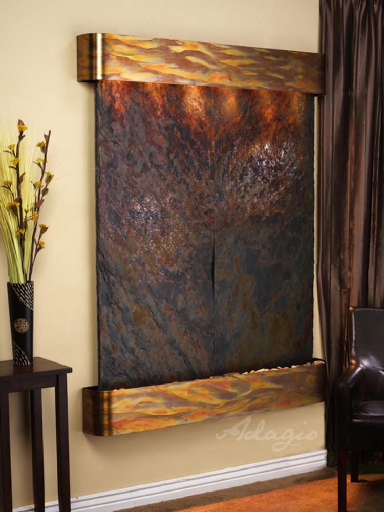 Majestic River: Multi-Color Slate and Rustic Copper Trim with Rounded Corners