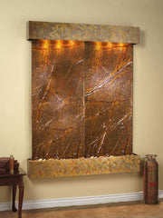 Majestic River: Rainforest Brown Marble and Rustic Copper Trim with Squared Corners