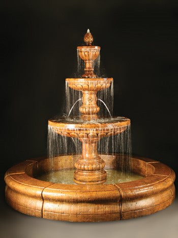 Mediterranean Fountain with Plumbed Spacer and Fiore Pond