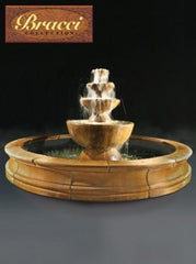 Sequenza Outdoor Water Fountain with 12-foot Bracci Basin - Soothing Walls