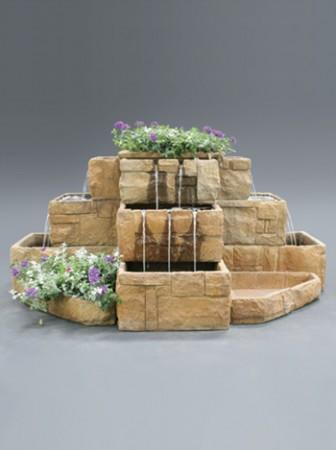 Stone Courtyard Cascade Fountain - Soothing Walls