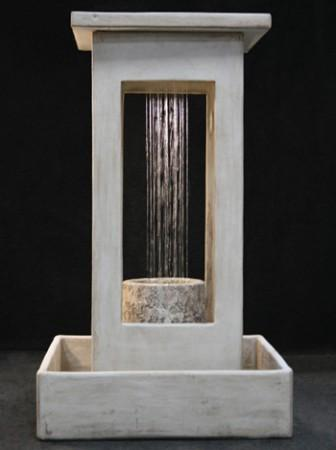Smooth Center Rain Fountain with Column and Square Basin - Soothing Walls