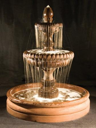 "Pioggia Fountain with 46"" Basin - Soothing Walls"