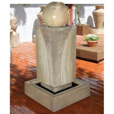 Ribbed Monolith with Ball Outdoor Fountain