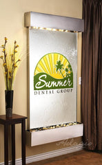 Summit Falls - Silver Mirror with Logo and Stainless Steel Trim with Square Corners