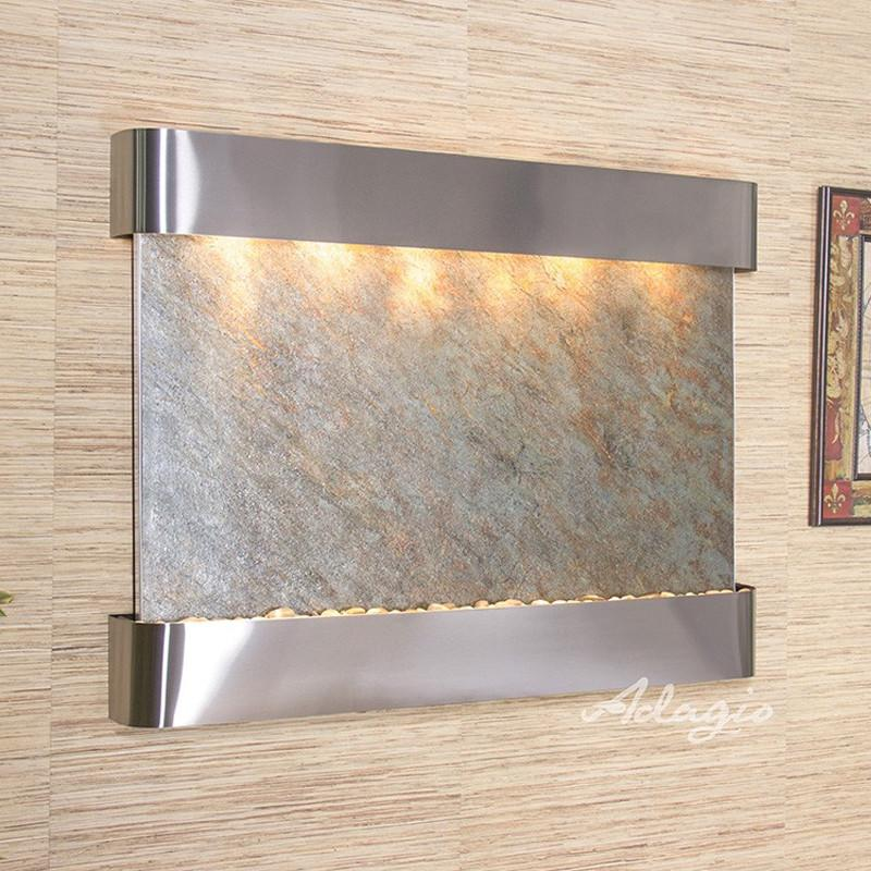 Teton Falls: Green FeatherStone and Stainless Steel Trim with Rounded Corners