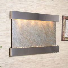 Teton Falls: Green FeatherStone and Stainless Steel Trim with Squared Corners