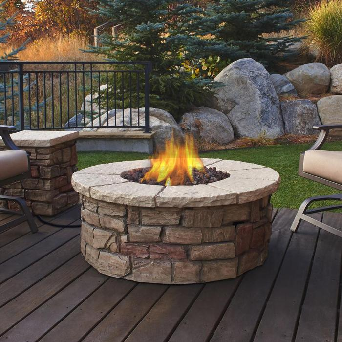 Sedona Round Propane Fire Table in Buff with NG Conversion Kit