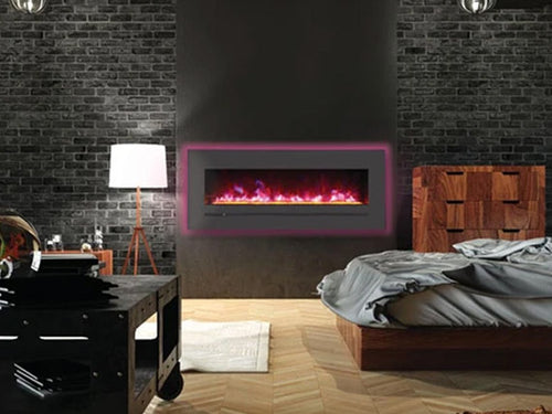 """Sierra Flame 48"""" Linear Electric Fireplace with Steel Front"""