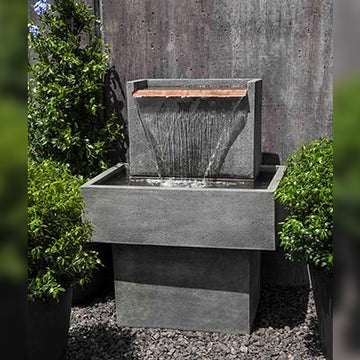 outdoor fountains, modern outdoor fountains, falling waters fountain, campania internation fountains